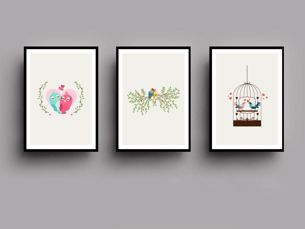 北欧爱情鸟极简装饰画无框画图片