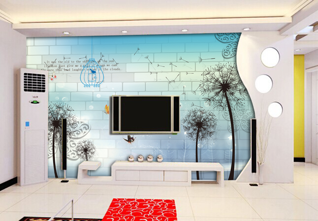 3d立体简约客厅电视背景墙壁画