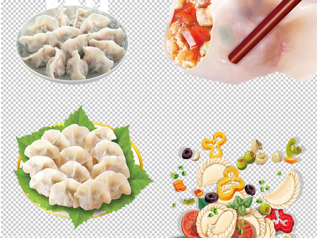 卡通过年冬至饺子食品海报png素材