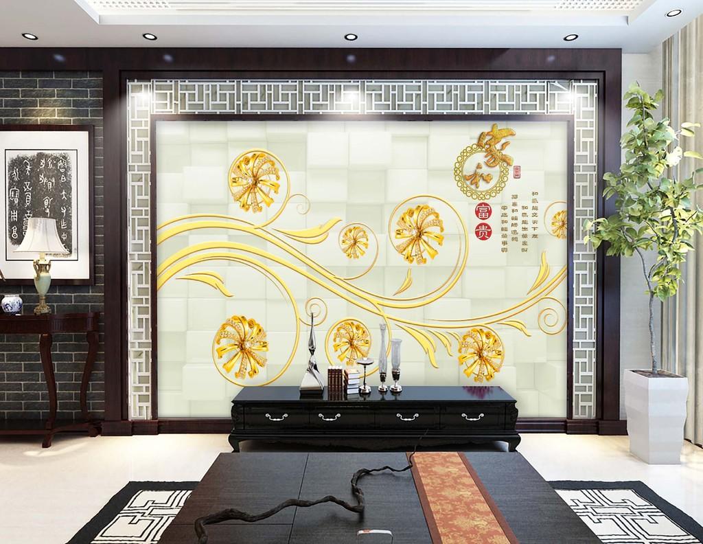 3d奢华金色珠宝花朵欧式花纹电视背景墙图片