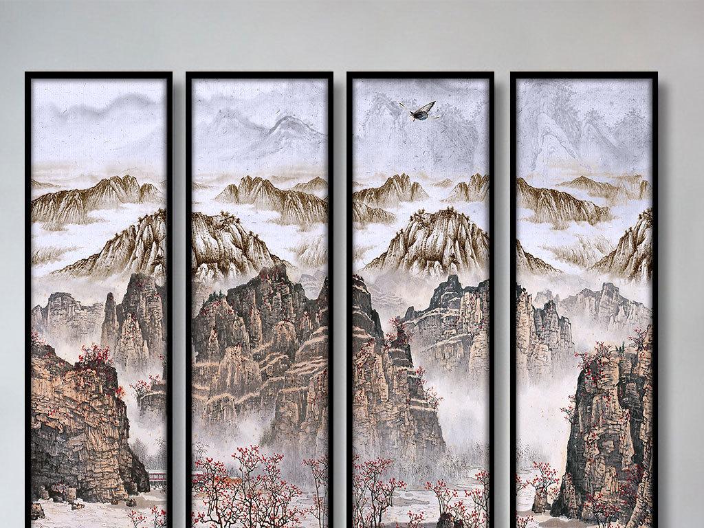 新中式山水四联装饰画图片