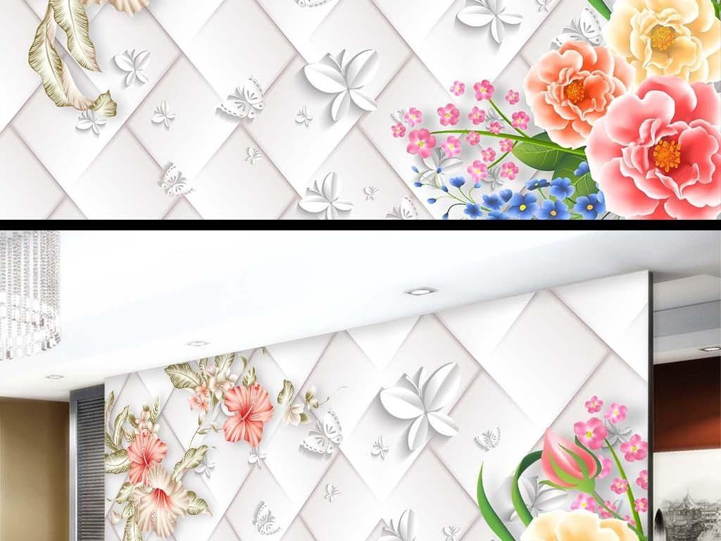 简约手绘花朵电视背景墙