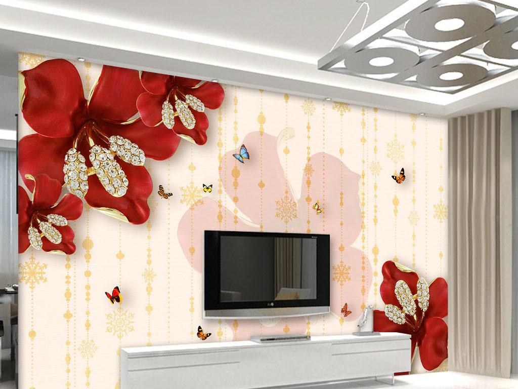 蝴蝶浪漫背景墙简约壁纸浮雕红色背景花朵红色花朵