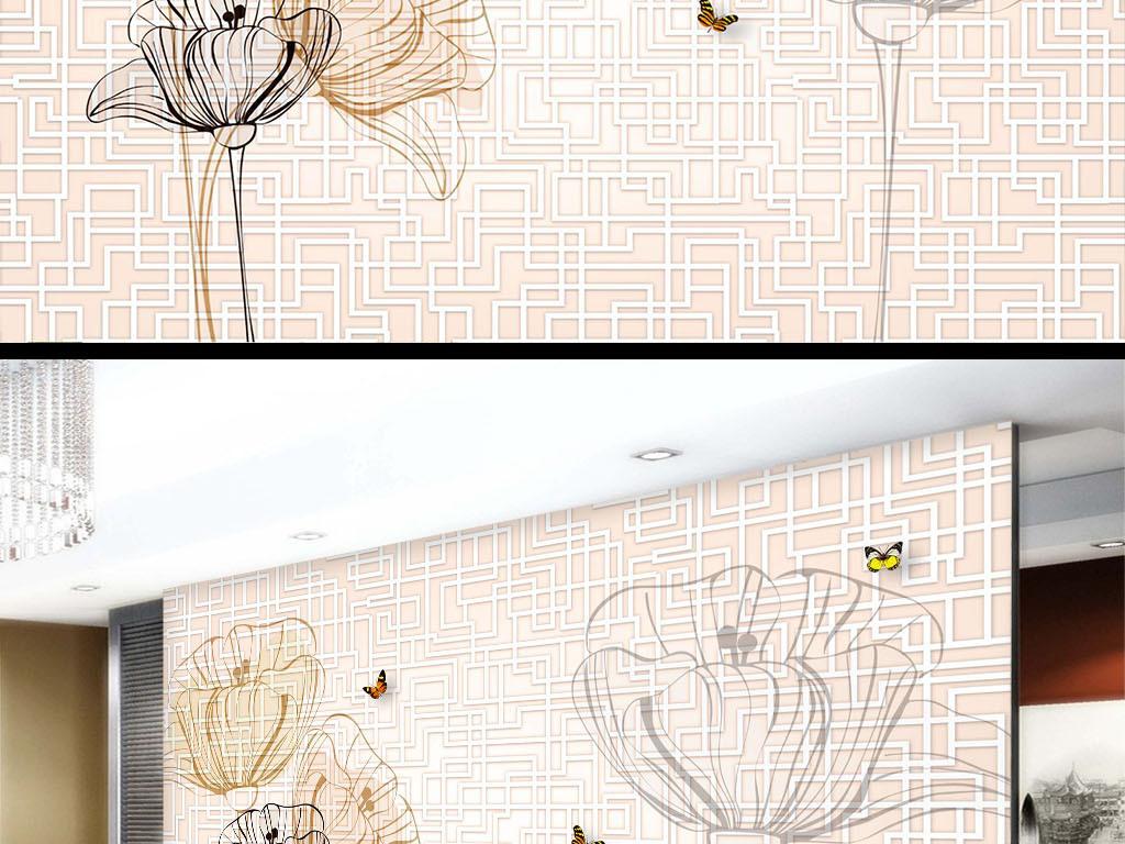 手绘花朵简约风格壁纸方格方格背景电视背景墙图片玻璃电视背景墙图片
