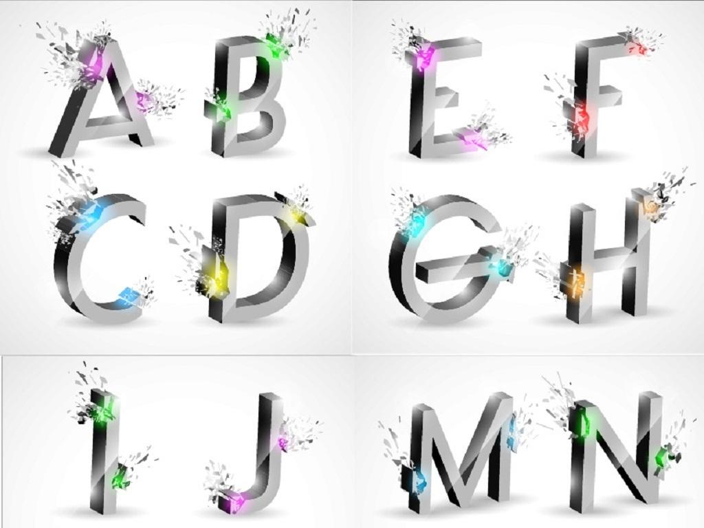 26个英文字母创意立体艺术字矢量素材