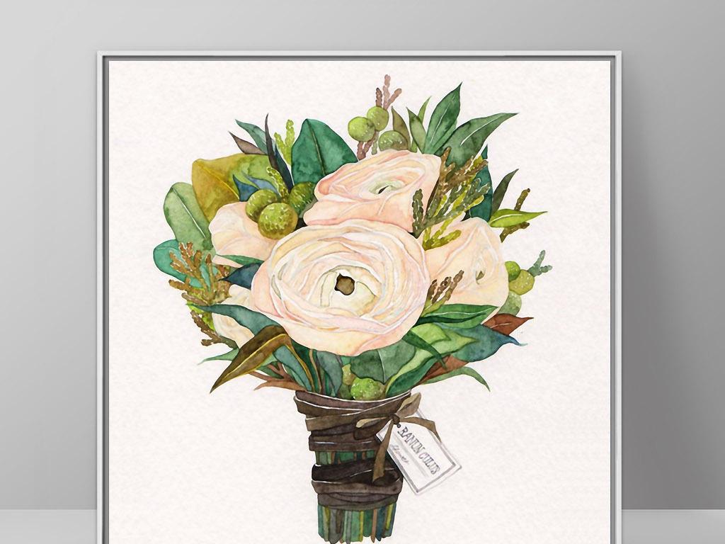 手绘一朵花一枝花束花一簇花一枝花背景一束鲜花一束玫瑰鲜花一束一束