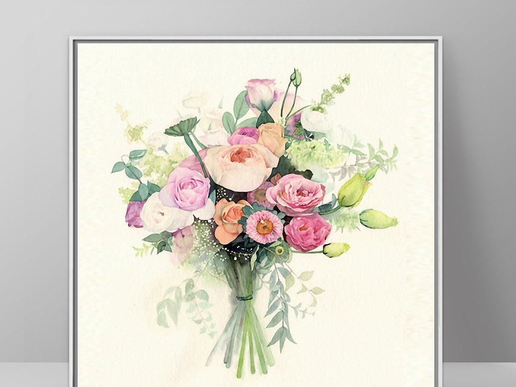 玫瑰花之恋北欧现代手绘花卉欧式家居无框画