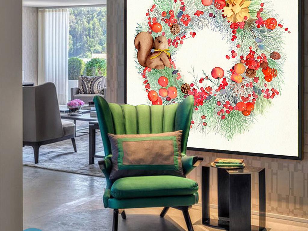 松鼠花环北欧可爱小清新花卉欧式手绘无框画