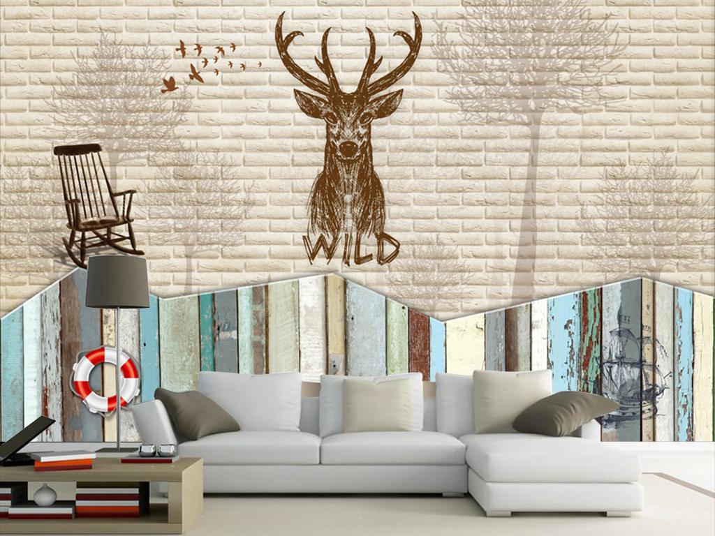 彩色木板手绘梅花鹿背景墙图片