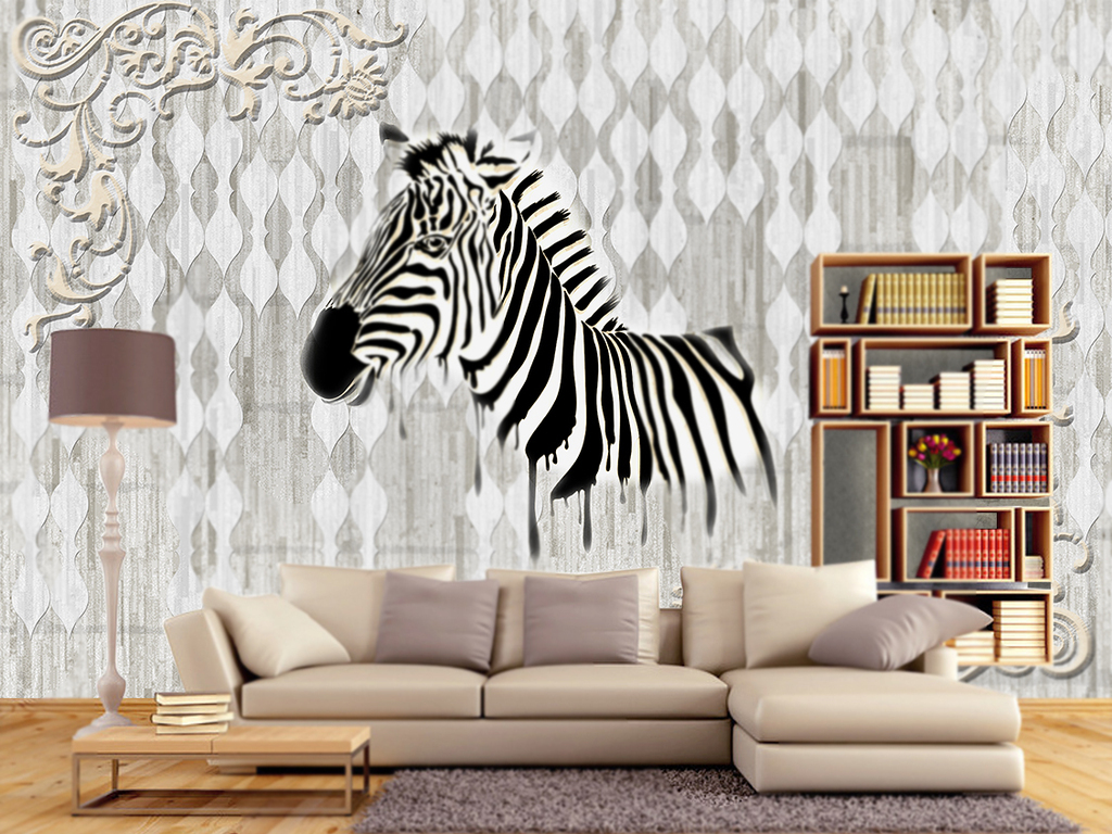 欧式复古斑马电视背景墙(图片编号:15991701)