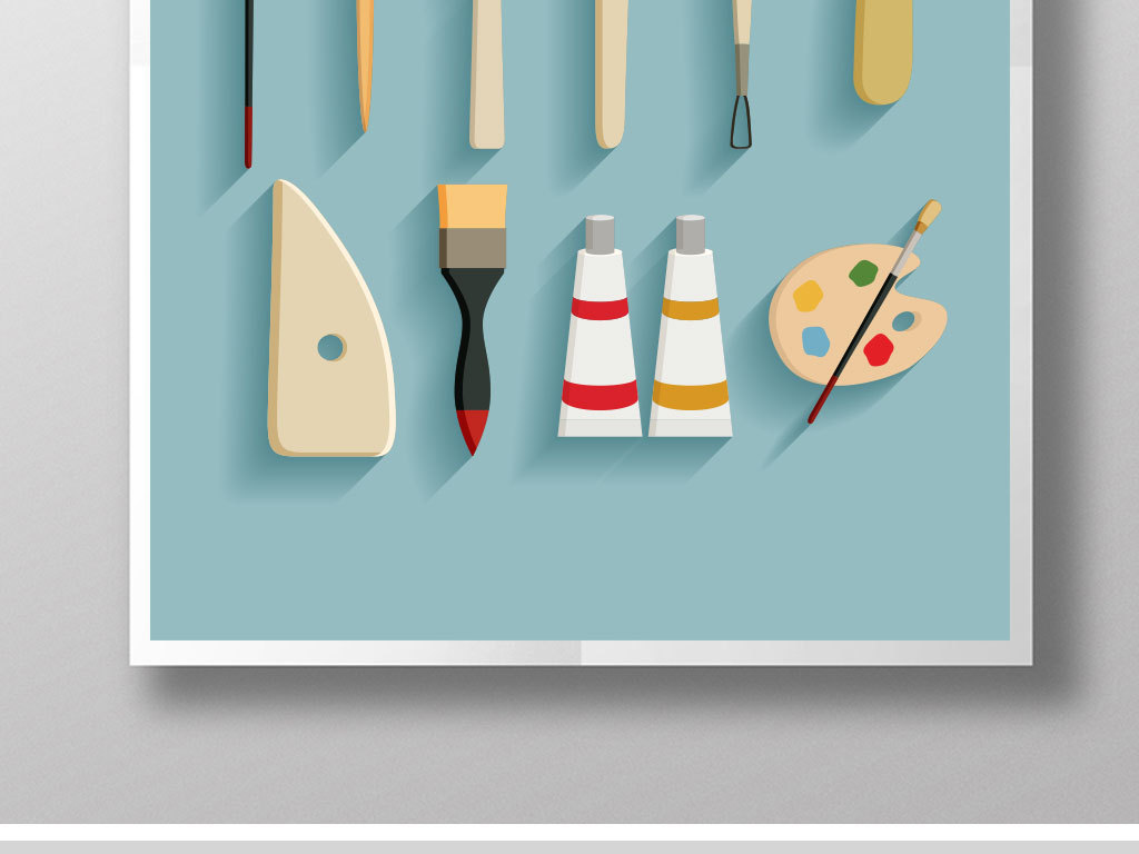 卡通画画工具2b调色板绘画图标学生美术
