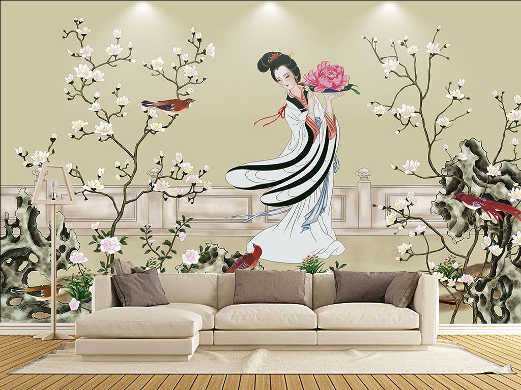 中式牡丹中式手绘复古牡丹手绘人物手绘墙手绘背景