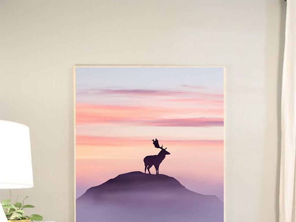 北欧简约手绘高山日出鹿草地风景抽象装饰画