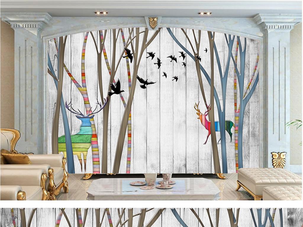 手绘怀旧客厅移门效果图客厅电视背景墙图片客厅效果图客厅电视背景墙