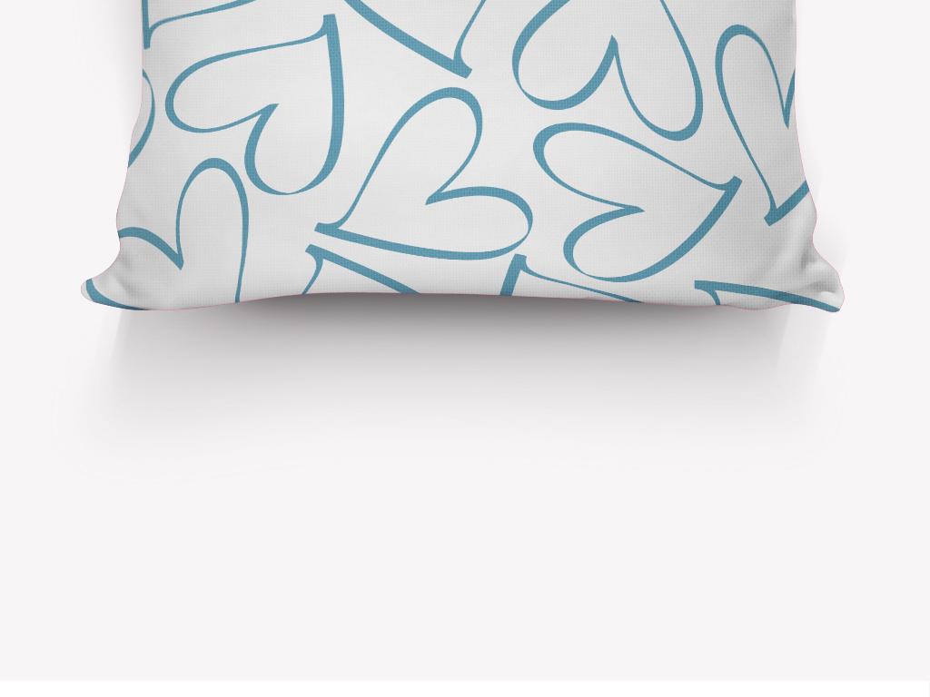 朴素线稿手绘爱心抱枕图案设计