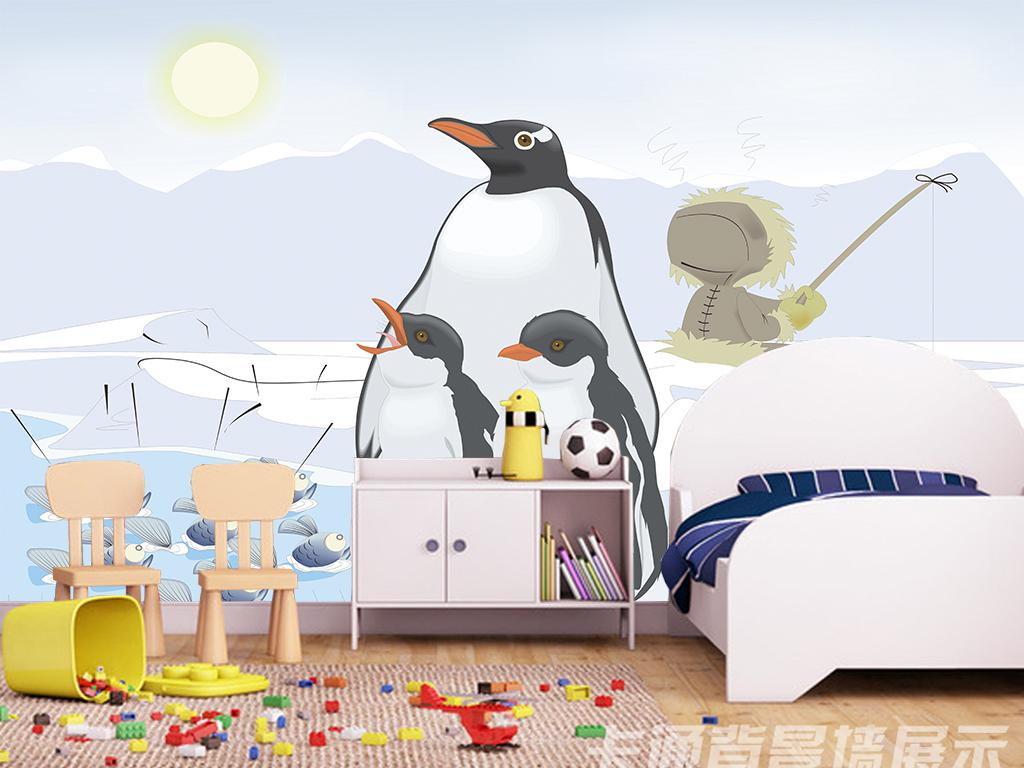 卡通企鹅冰山背景墙
