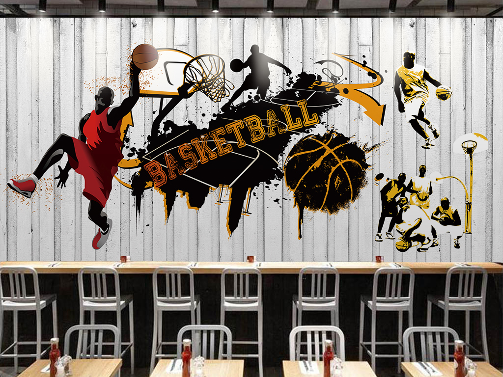 背景墙|装饰画 工装背景墙 形象墙 > 个性潮流篮球系列背景墙图片
