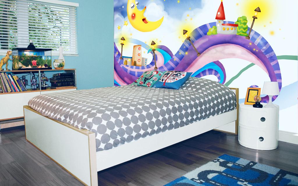 手绘卡通月亮儿童房背景墙装饰画