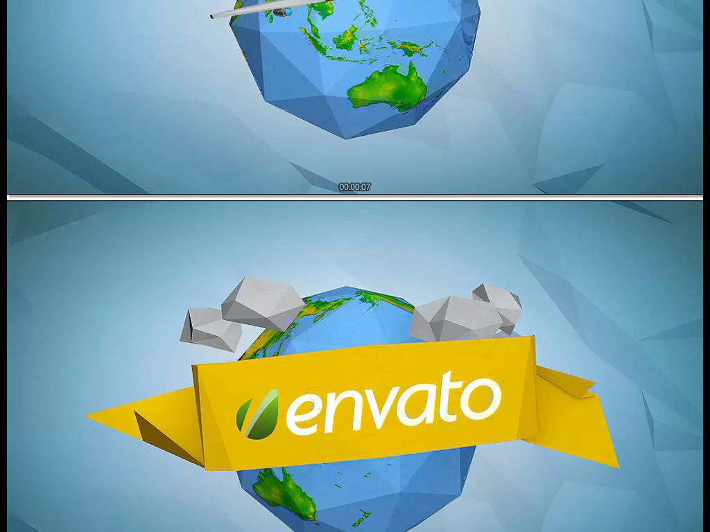 卡通折纸样式的飞机与地球标志开场ae模板