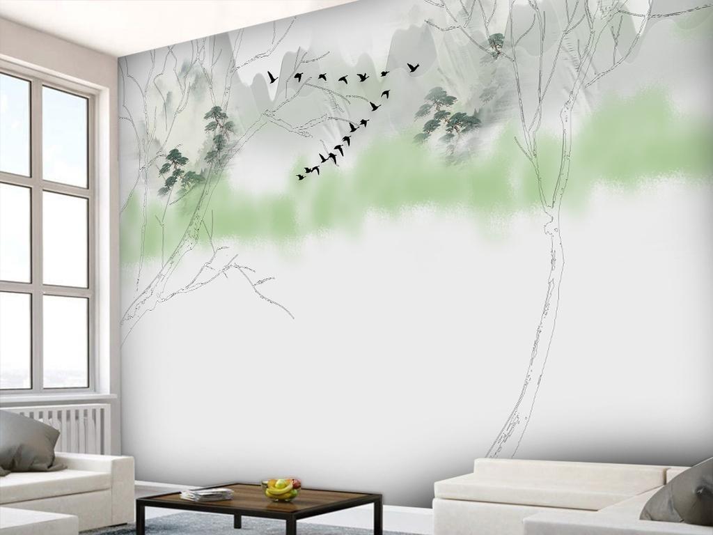 简约手绘树木山水背景墙