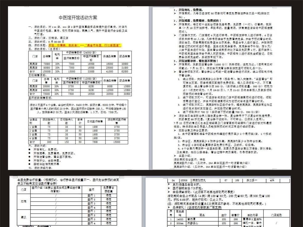 中医策划书模板