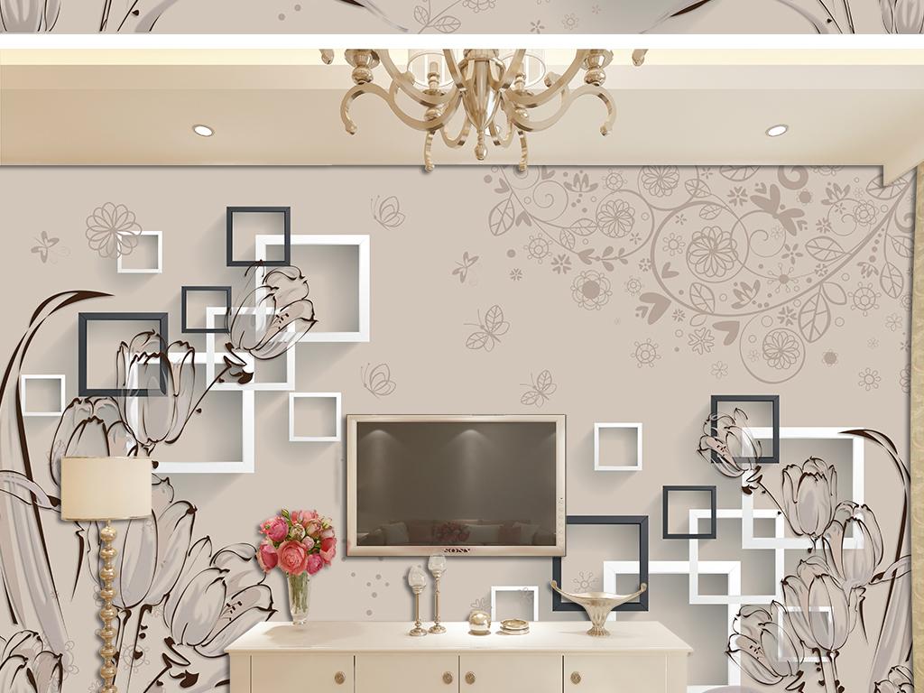 背景墙|装饰画 电视背景墙 3d电视背景墙 > 手绘郁金香3d立体简约花纹