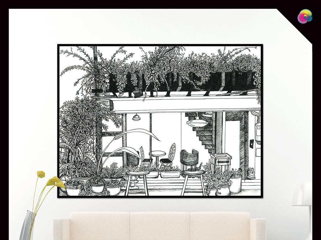 手绘古典欧式黑白素描速写风景插画咖啡厅餐厅小清新