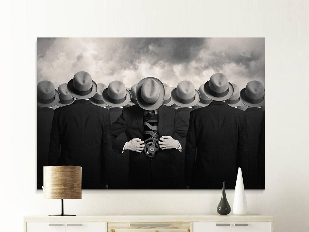 北欧创意人物黑白装饰画