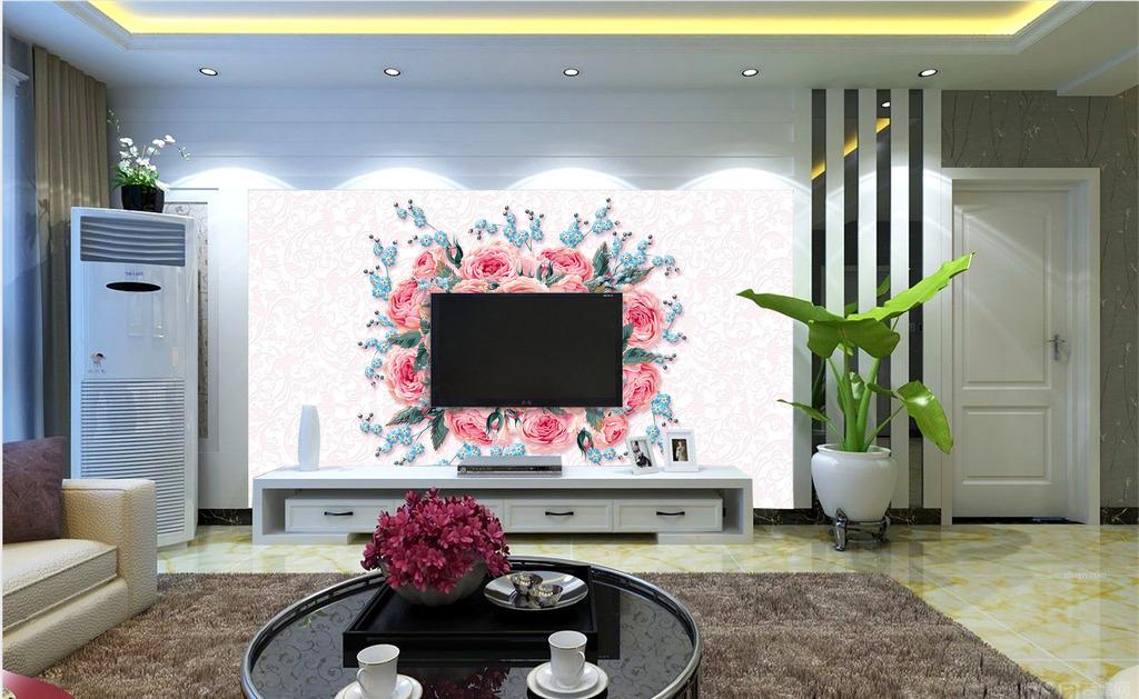 装饰墙纸玫瑰花玫瑰花背景电视背景电视客厅墙纸画