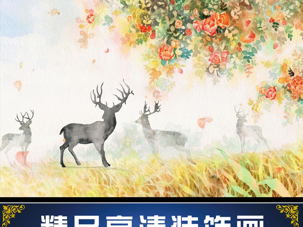 北欧清新森林麋鹿沙发背景墙装饰画(图片编号:)