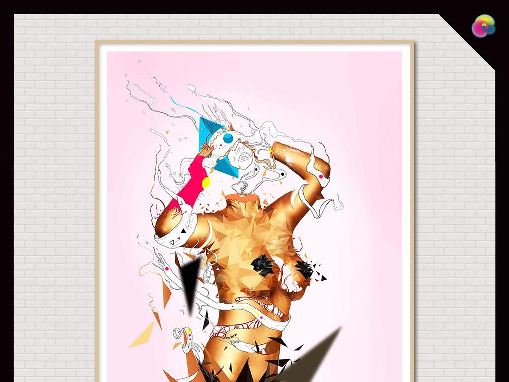 高清手绘油画性感美女人体艺术写生背景墙