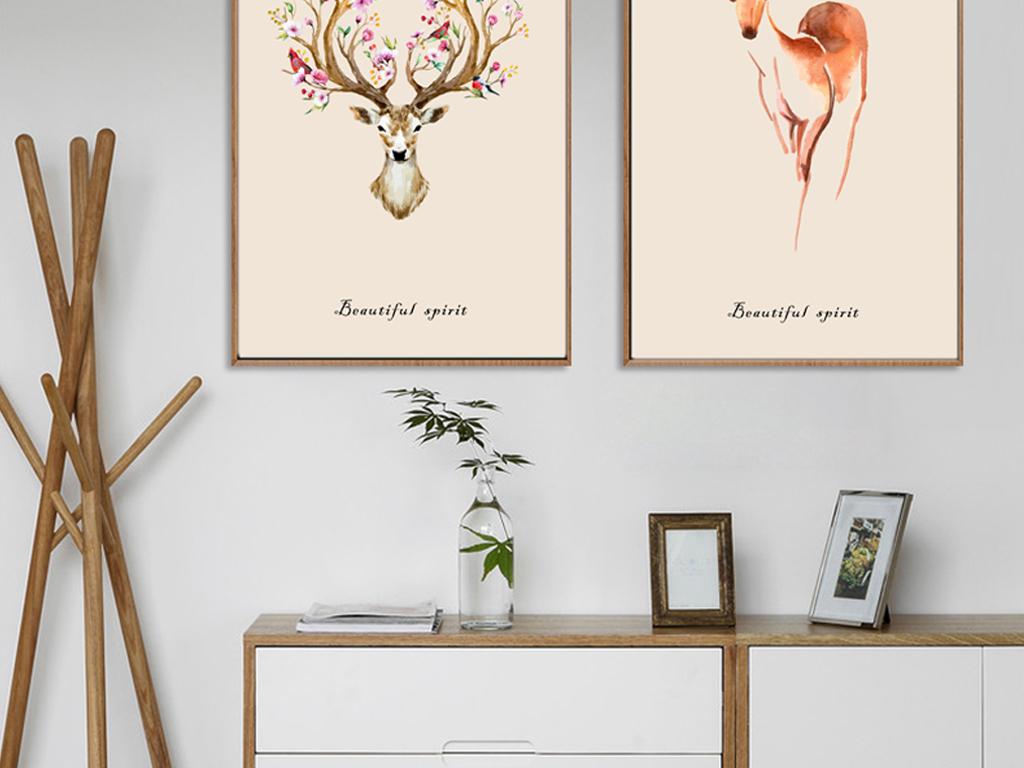 装饰画 北欧装饰画 动物装饰画 > 鹿角花鸟手绘装饰画三联无框画
