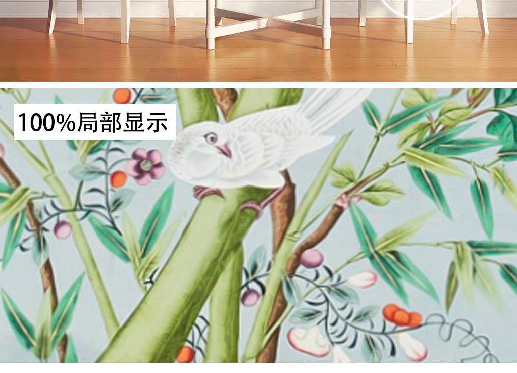 欧式新中式手绘工笔花鸟怀旧田园壁画背景墙