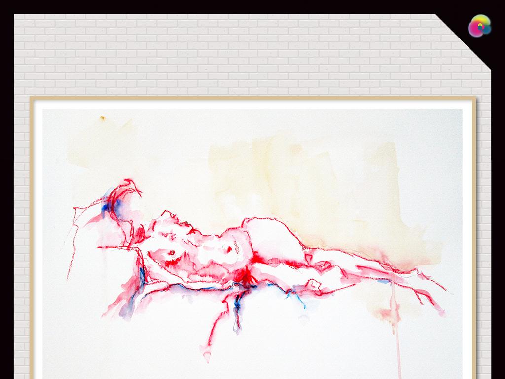 背景墙|装饰画 无框画 人物无框画 > 高清手绘素描抽象女人体无框画