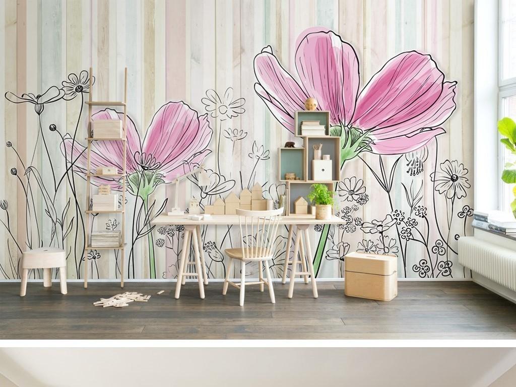 彩色木板纹理线条花朵简约电视背景墙
