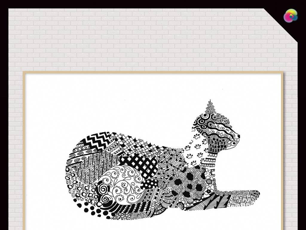手绘动物动物插画风格黑白插画北欧简约北欧风景北欧