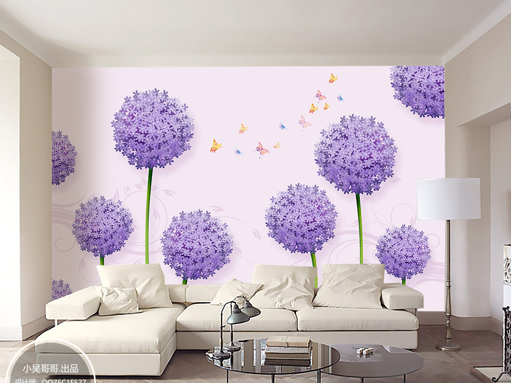 背景墙|装饰画 电视背景墙 手绘电视背景墙 > 清新唯美手绘绣球花客厅
