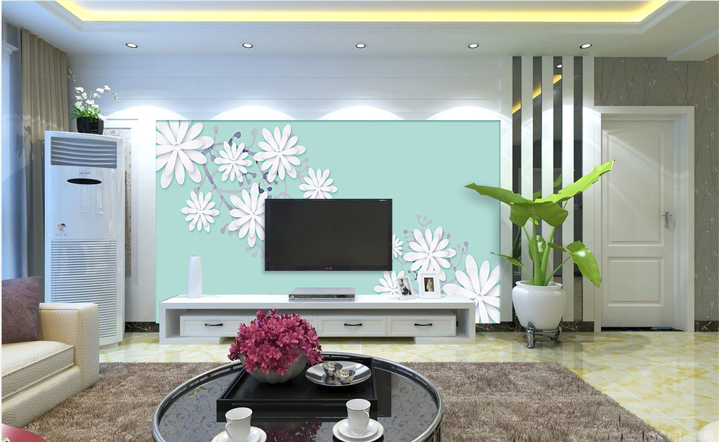 原创清新淡雅花纹电视背景墙客厅墙纸