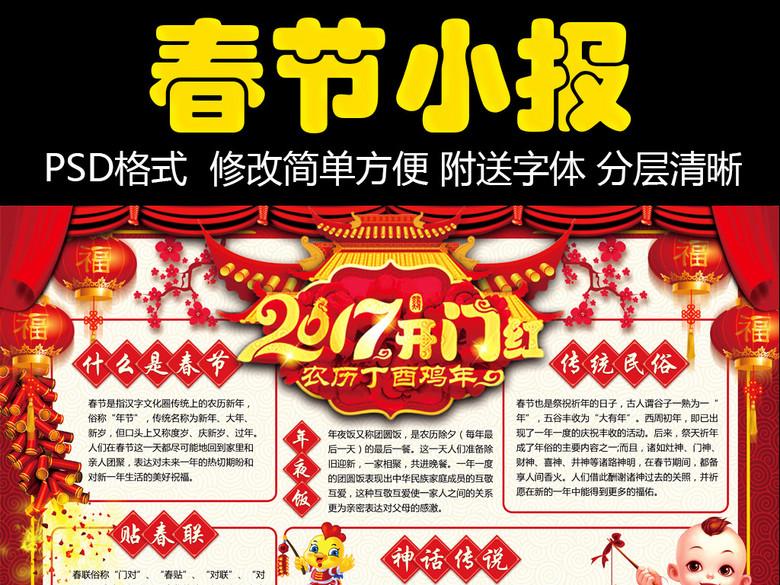 2017鸡年春节元旦小报新年手抄电子小报