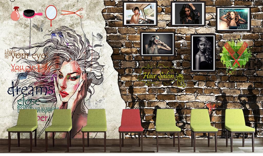 手绘卡通可爱名片北欧背景美容院发廊美容美发美甲复古背景复古怀旧