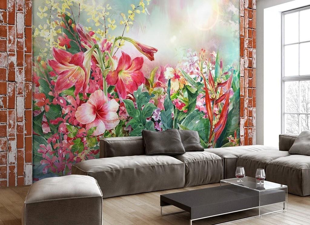 复古砖墙砖墙背景红砖背景手绘人物手绘背景手绘墙手绘背景墙手绘花鸟