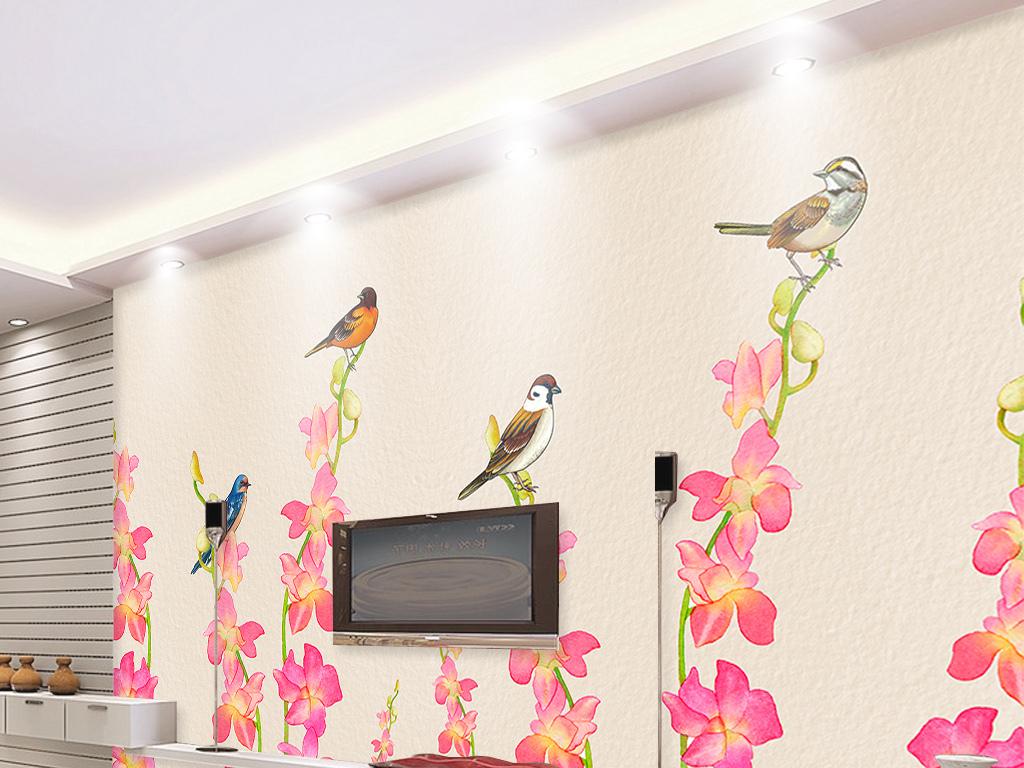 欧式浪漫复古手绘蝴蝶兰电视背景墙