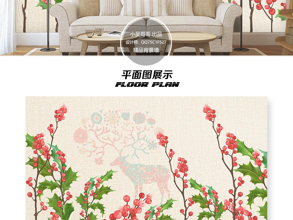 清新复古手绘植物小鹿电视背景墙壁画