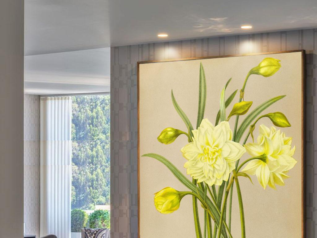 美式风格手绘黄色花朵无框画