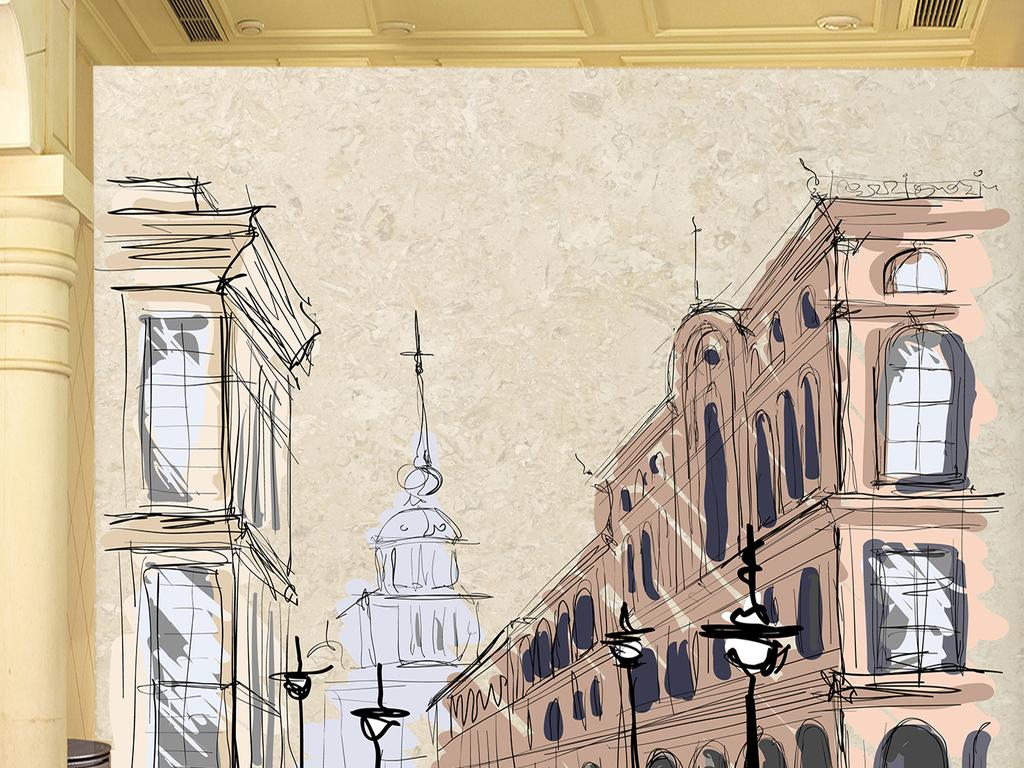大理石手绘建筑物街道桥路灯复古背景墙