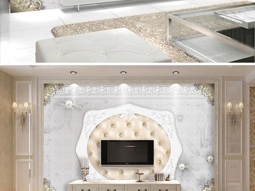 花卉珠宝软包电视背景墙