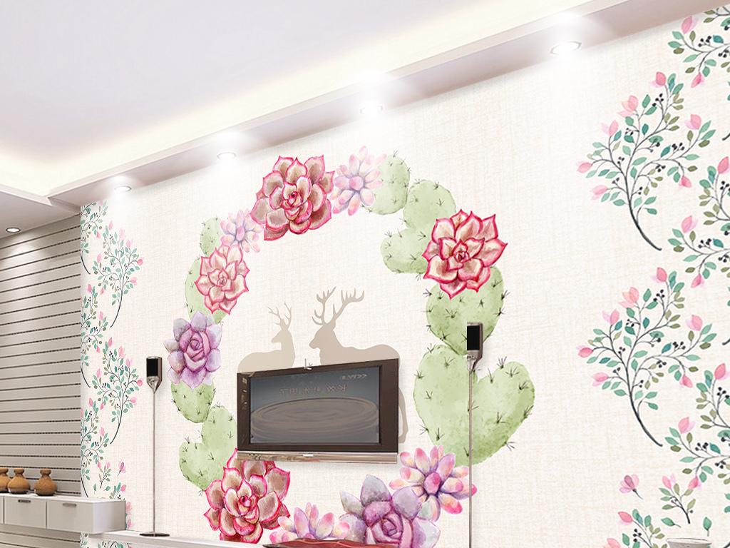 北欧水彩植物手绘麋鹿电视背景墙壁画
