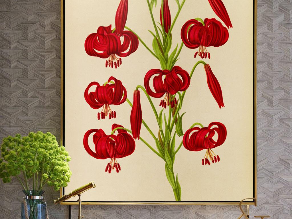 美式风格手绘红色花朵无框画