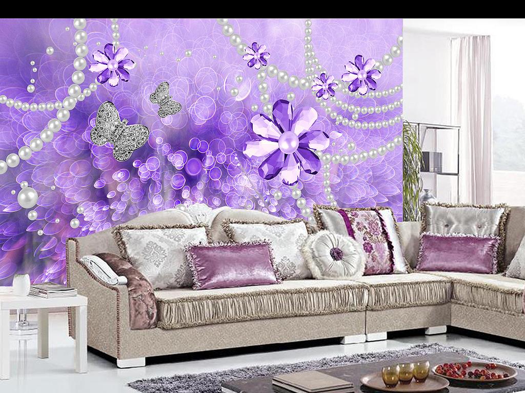 紫色轻奢珍珠梦幻花草3d立体珠宝背景墙