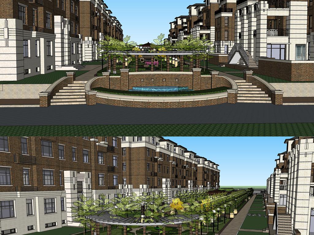 精细欧式洋房小区景观规划设计su模型